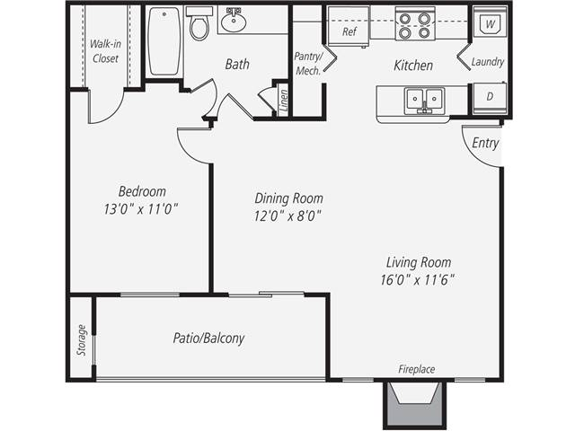 Floorplan for Apartment #107-133, 1 bedroom unit at Halstead Fair Oaks